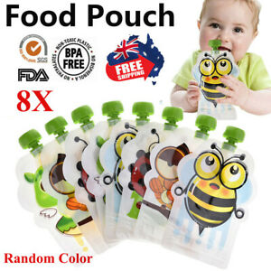 8x Reusable BPA-Free Food Pouch Baby Homemade Pulp Puree Sealed Storage Bags