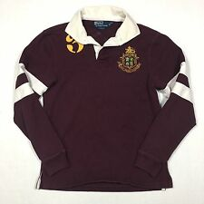 Vintage POLO RALPH LAUREN Crest Logo Rugby Mens Shirt Small CUSTOM FIT Maroon #3