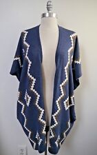 NEW QUEENE AND BELLE blue Navajo print 100% cashmere cardigan sweater vest