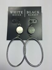 WHITE HOUSE BLACK MARKET SILVER HOOP EARRINGS WITH ABALONE NWT $30