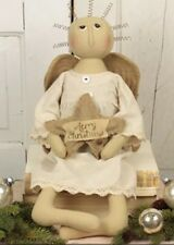 "Primitive 20"" Honey and Me Vintage Angel Merry Christmas Star Burlap Lace Muslin"