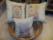set of 3 SMALL Eiffel Tower pillows shabby French Paris decor 5X5 SIZE