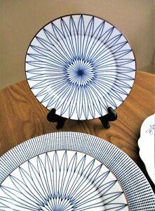 "Spice Market, Blue/White Spirograph Dessert Plate,Brown Trim,Teal Bottom,8"",NWOT"