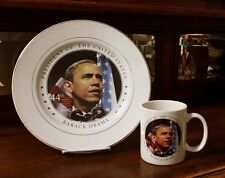 Barack Obama 44th President Inauguration Commemorative Collector Plate & Mug Set