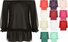 Chiffon Off-Shoulder Machine Washable Solid Tops for Women
