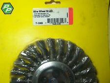 "WIRE WHEEL BRUSHES - 6"" DIAMETER. 9/16"" WIDE - TWISTED .011 WIRE 9000 RPM"