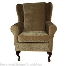 High Wingback Fireside Velluto Antique Fabric Seat Easy Armchair Queen Anne Legs