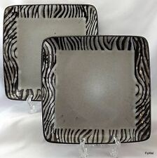 Gibson Bella Zebra Square Salad Plates Set of 2 Black Gray Striped 7.75""