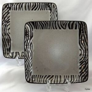 "Gibson Bella Zebra Square Salad Plates Set of 2 Black Gray Striped 7.75"""