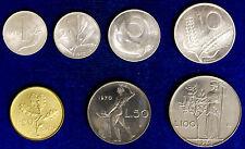 LOTTO LOT 7 Monete ITALY ITALIA 1970 Lire 1-2-5-10-20-50-100 Fdc Unc #LOT13