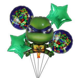 Teenage Mutant Hero Turtles Balloons Set Party Free Straw & Ribbon Fast Despatch