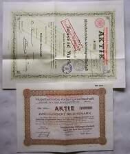 Berlin 1899 & 1927 Zwei Aktien d. Hotelbetriebs Aktiengesellschaft Aktie Reprint