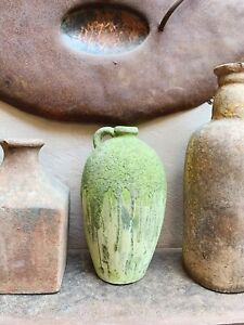 Large Chunky Green Ceramic Rustic Urn Olive Jar Vase Plant Pot Large Moss Effect