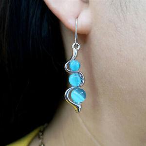 925 Silver Dangle Drop Earrings Ear Hook Moonstone Women Jewelry Gift A pair/Set
