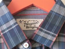 "PENGUIN HERITAGE SHIRT CHECKS Plaid Teal Red Grey Long Sleeve BNWT Sz S 38"""