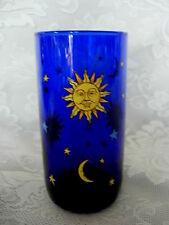 LIBBEY'S Cobalt Blue Sun/Moon/Stars Blown Glass Tumbler - MORE AVAILABLE