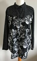 Divided at H&M Size S, Ladies Black & White Long Sleeve Blouse, High Low Hem