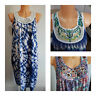 NEW Ex Store Ladies BLUE White Mix Sleeveless Summer Dress Size 6 - 22