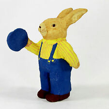 "Primitive Folk Art Paper Mache BIB OVERALL RABBIT 5"" Figurine Bunny Hat"