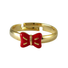Gold Plated Red Enamel Bow Adjustable Ring (7-8)