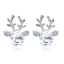 Women Ladies Ear Studs Cuff Earrings Reindeer Deer Antler Crystal Rhinestone New