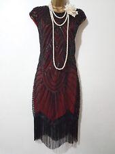 VINTAGE 20'S GATSBY FLAPPER CHARLESTON SEQUIN BEAD EMBELLISHED FRINGE DRESS SZ M