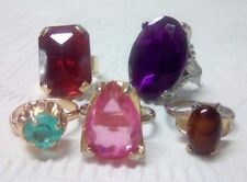Lot of 5 super bulky rings with Big Jewels. BLING. Fun rings. adjustable size