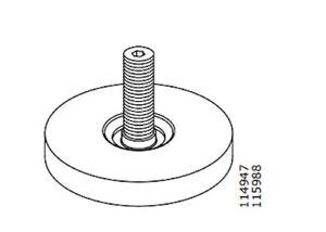 4x Ikea Adjustable Feet foot M8 Plastic Gray Steel 30mm Height Part # 114947