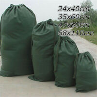 Dark Green Canvas Drawstring Large Bag Pouch Clothes Storage Home Laundry