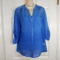 COVINGTON Size Small Blue 2 PIECE 3/4 Sleeve Shirt Set Top Blouse Womens V Neck