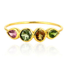 Stackable Band Ring Women Fashion Jewelry Multi Tourmaline Solid 14k Yellow Gold