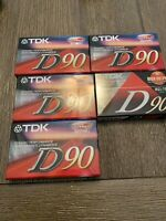 Lot of 5 New Sealed TDK D90 IEC1 Type 1 Normal Position Blank Cassette Tapes