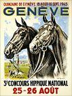 Geneva Switzerland 1945 Horse Show Vintage Poster Print Retro Style Art