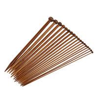 18 Sizes Carbonized Bamboo Knitting Needles Single Pointed Needles V4P5