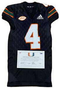 Miami Hurricanes Game Worn Black Adidas Jersey #4 COA Johnson Thomas Hester NFL