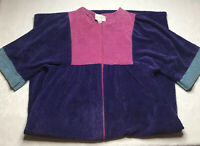 Vintage Leisure Life XL Color Block Chenille 3 Quarter Zip Dressing Gown Robe US