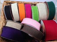 Eleganza Natural Hessian Wire Edged Ribbon - 12 shades / 4 lengths- 32 50 & 70mm