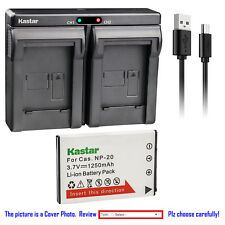 Kastar Battery Dual Charger for Casio NP-20 BC-11L & Casio Exilim EX-M20 EX-S1