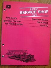 John Deere Draper Platform 7700 Combine operators Manual Jdj3