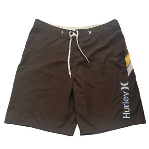 Vintage Hurley Men's Brown Beach Board Shorts Spellout Logo Size 40