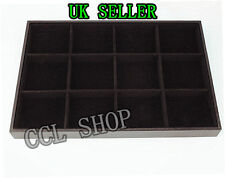 Large Jewellery Shop Display Black Velvet Box Case Tray 12 Grid Sections