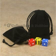 """NEW 2 Small Black Dice Bags 3"""" x 4"""" Velveteen Cloth Bag Pair RPG Counter Pouch"""