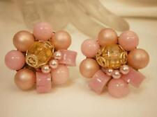 Beautiful Vintage 1950's Japan Luscious Pink Bead Earrings   2167n