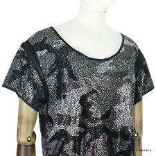 Thomas Wylde Luxurious Black Silver Camouflage Pattern Bejewelled Top UK8 IT40