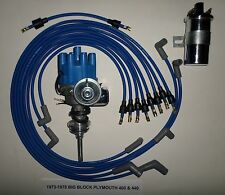 PLYMOUTH 440 1973-78 BLUE Small Female HEI Distributor+45K Coil+Spark Plug Wires