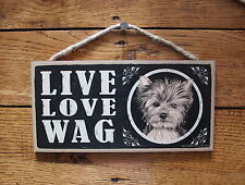 """Yorkie Sign Live Love Wag Dog Wood Plaque 5""""x10""""  Made In USA"""
