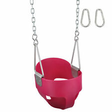 Swing Set Stuff Highback Full Bucket Seat Pink With Chains And Hooks wood 0050