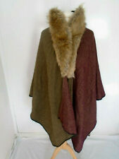 Poncho Cape One Size Plus Size Open Batwing Faux Fur Collar Warm Smart Stylish