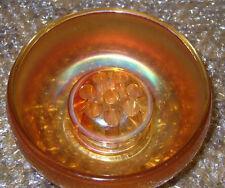 ART GLASS VASE CARNIVAL GLASS IRIDESCENT  MARIGOLD BOWL & FLOWER FROG