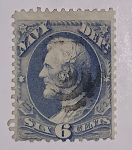 Travelstamps: 1873 US # O38  NAVY DEPARTMENT 6c LINCOLN OFFICIAL USED NG